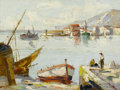 Fine Art - Painting, European:Antique  (Pre 1900), ITALIAN SCHOOL (Late 19th Century). Fisherman at the Dock. Oil on canvas. 22 x 31 inches (55.9 x 78.7 cm). Signed illegi...
