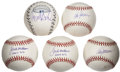 Autographs:Baseballs, Baseball Managers Single Signed Baseball Collection (5). ...