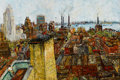 Fine Art - Painting, American:Modern  (1900 1949)  , SAMUEL ROTHBORT (Russian/American, 1882-1971). ManhattanSkyline . Oil on canvas. 24 x 36 inches (61.0 x 91.4 cm).Signe...