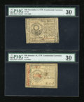 Colonial Notes:Continental Congress Issues, Two Different Continental Notes.. ... (Total: 2 notes)