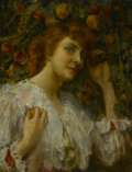 Fine Art - Painting, American:Modern  (1900 1949)  , FREDERICK ARTHUR BRIDGMAN (American, 1847-1928). Lady withPeaches. Oil on canvas. 25-3/4 x 19-3/4 inches (65.4 x 50.2c...