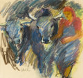 Fine Art - Work on Paper, VILMA ECKL (Austrian, 1892-1982). Figure with Bulls. Pastelon paper. 14-1/2 x 15-3/4 inches (36.8 x 40.0 cm) window. Si...