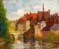 Fine Art - Painting, American:Modern  (1900 1949)  , MICHAEL HEITER (American, 1883-1963). City and Riverscape . Oil on canvas. 25 x 30-1/4 inches (63.5 x 76.8 cm). Signed l...