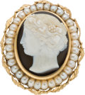 Estate Jewelry:Brooches - Pins, Onyx, Cultured Pearl, Gold Brooch. ...