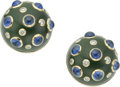 Estate Jewelry:Earrings, Diamond, Sapphire, Nephrite, Gold Earrings, Trianon. ... (Total: 2Items)