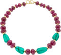 Estate Jewelry:Necklaces, Ruby, Emerald, Gold Bead Necklace. ...