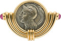 Estate Jewelry:Brooches - Pins, Ancient Coin, Ruby, Gold Brooch, Bvlgari. ...