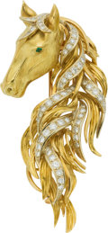 Estate Jewelry:Brooches - Pins, Diamond, Emerald, Gold Clip-Brooch, Neiman Marcus. ...