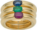 Estate Jewelry:Rings, Ruby, Sapphire, Emerald, Gold Ring Set, Cartier. ...