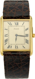 Timepieces:Wristwatch, Piaget Men's 18k Gold Tank Wristwatch, circa 1980's. ...