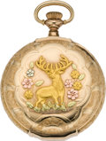 Timepieces:Pocket (pre 1900) , Waltham Lady's Box Hinge Gold Multicolor with Fancy Dial, circa1892. ...