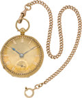 Timepieces:Pocket (pre 1900) , Swiss Gold Lever Fusee & Gold Chain, circa 1860. ...