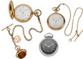 Timepieces:Pocket (post 1900), Hamilton 4992B, Masonic Dial Elgin, Hunter Cased Elgin & Two Chains, circa 1890's & 1940. ... (Total: 3 Items)