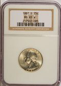 Washington Quarters, 1961-D 25C MS65 W NGC. NGC Census: (219/202). PCGS Population(326/164). Mintage: 83,656,928. Numismedia Wsl. Price for NGC...