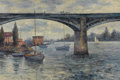 Fine Art - Painting, American:Contemporary   (1950 to present)  , JOHN CLYMER (American, 20th Century). Bridge Across theRiver. Oil on canvas. 24 x 36 inches (61.0 x 91.4 cm). Signedlo...