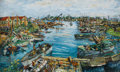 Fine Art - Painting, American:Modern  (1900 1949)  , SAMUEL ROTHBORT (Russian/American, 1882-1971). Boats Along theWharf. Oil on canvas laid on masonite. 20-3/4 x 35 inches...