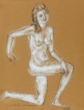 Fine Art - Painting, American:Modern  (1900 1949)  , ARTHUR BOWEN DAVIES (American, 1862-1928). Nude FigureStudy. Pastel on paper. 18 x 13 inches (45.7 x 33.0 cm).Stamped ...