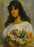 Fine Art - Painting, Russian:Antique (Pre-1900), Manner of VLADIMIR MAKOVSKY (Russian, 1846-1920). Woman withFlowers. Oil on canvas. 19 x 14 inches (48.3 x 35.6 cm). Be...
