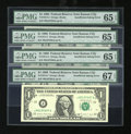 Error Notes:Blank Reverse (<100%), Fr. 1914-J $1 1988 Federal Reserve Notes. Four ConsecutiveExamples. PMG Superb Gem Unc 67 EPQ/Gem Uncirculated 65 EPQ (3)....(Total: 4 notes)