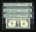 Error Notes:Blank Reverse (<100%), Fr. 1914-J $1 1988 Federal Reserve Notes. Three ConsecutiveExamples. PMG Superb Gem Unc 67 EPQ.. ... (Total: 3 notes)