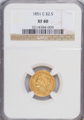 Liberty Quarter Eagles, 1851-C $2 1/2 XF40 NGC....