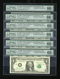Error Notes:Blank Reverse (<100%), Fr. 1914-J $1 1988 Federal Reserve Notes. Six Examples. PMG GemUncirculated 66 EPQ.. ... (Total: 6 notes)