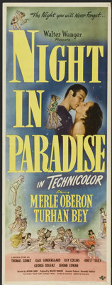 "A Night in Paradise (Universal, 1946). Insert (14"" X 36""). Comedy"