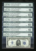 Small Size:Silver Certificates, Seven Fr. 1651 $5 1934A Mule and non-Mule Silver Certificates. PMG Gem Uncirculated 65 EPQ or Better.. ... (Total: 7 notes)