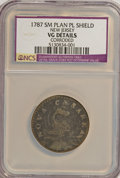 1787 COPPER New Jersey Copper, Small Planchet, Plain Shield--Corroded--NCS. VG Details. NGC Census: (0/0). PCGS Populati...