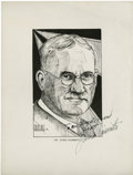 Basketball Collectibles:Others, James Naismith Signed Print By Ed Elbel....