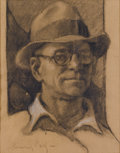 Fine Art - Painting, European:Modern  (1900 1949)  , CARL LUIS HEINRICH-SALZE (German, 1891-1964). Self Portrait. Charcoal on paper. 17-1/2 x 14 inches (44.5 x 35.6 cm). Sig...