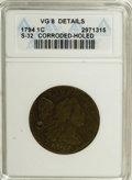 1794 1C Head of 1795--Corroded, Holed--ANACS. VG8 Details. S-32. NGC Census: (7/287). PCGS Population (15/391). Mintage:...