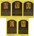 Autographs:Post Cards, Signed Gold Hall of Fame Plaques Lot of 5. Five signed examplesfrom the popular Gold Hall of Fame Plaque postcards issued ...