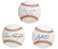 Autographs:Baseballs, Hall of Famers Single Signed Baseballs Lot of 3. Trio of high-gradesingles available here via Cooperstown inductees Bob Fe...
