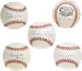 Autographs:Baseballs, Deceased Hall of Famers Single Signed Baseballs Lot of 5. Each ofthe singles that we offer here has been signed courtesy o...