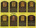 Autographs:Post Cards, Signed Gold Hall of Fame Plaques Lot of 8. Collection of 8 gold Hall of Fame postcards, all signed by a member of Coopersto...