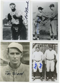 "Autographs:Photos, Vintage Baseball Stars Signed Photographs Lot of 4. Excellentquartet of 3.5x5"" black and white prints featuring vintage Ma..."