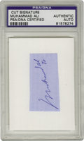 Boxing Collectibles:Autographs, Muhammad Ali Signed Cut, PSA Authentic. This cut features a niceMuhammad Ali autograph in blue ink. The notation at the bot...