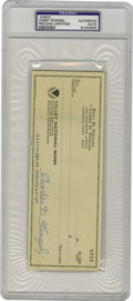 Autographs:Checks, Casey Stengel Signed Blank Check PSA Authentic. Presumably signed some time in the 1970s, this blank check from managerial ...
