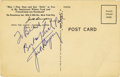 Boxing Collectibles:Autographs, Jack Dempsey Signed Postcard. Signed on the back of a postcardadvertising Jack Dempsey's Broadway Restaurant which operat...
