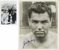Boxing Collectibles:Autographs, Jack Dempsey Signed Photographs Lot of 2. The Manassa Mauler Jack Dempsey is represented here by this fantastic pair of bla...