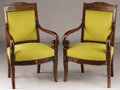 Furniture : French, A PAIR OF FRENCH RESTAURATION MAHOGANY FAUTEUILS. Second Quarter19th Century. 36 x 23 x 22 inches (91.4 x 58.4 x 55.9 cm) e...(Total: 2 Coins Items)