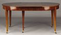 Furniture : French, A FRENCH DIRECTOIRE MAHOGANY DINING TABLE. Circa 1795. 30-1/2 x 112x 46-1/2 inches (77.5 x 284.5 x 118.1 cm) . ... (Total: 4 CoinsItems)