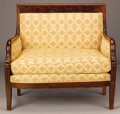 Furniture : French, A FRENCH EMPIRE MAHOGANY MARQUISE. 19th Century. 37 x 40-1/2 x 24inches (94.0 x 102.9 x 61.0 cm). ...