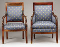 Furniture : French, TWO FRENCH EMPIRE MAHOGANY ARMCHAIRS. First Quarter 19th Century.36 x 24 x 20 inches (91.4 x 61.0 x 50.8 cm) each. ... (Total: 2Coins Items)