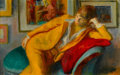 Fine Art - Painting, American:Contemporary   (1950 to present)  , ROBERT PHILIPP (American, 1895-1981). Young Girl Resting,1970. Oil on canvas. 12 x 19 inches (30.5 x 48.3 cm). Signed l...