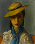 Fine Art - Painting, American:Modern  (1900 1949)  , ROBERT PHILIPP (American, 1895-1981). Girl with Straw Hat.Oil on canvas. 15-1/4 x 12 inches (38.7 x 30.5 cm). Signed lo...