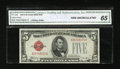 Small Size:Legal Tender Notes, Fr. 1529 $5 1928D Legal Tender Note. CGA Gem Uncirculated 65.. ...