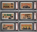 Non-Sport Cards:Lots, 1964 Topps Beatles Plaks PSA-Graded Group of (6)....