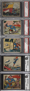 "Non-Sport Cards:Lots, 1940 Gum Inc. ""Superman"" Graded Group of (5) - Including #57...."